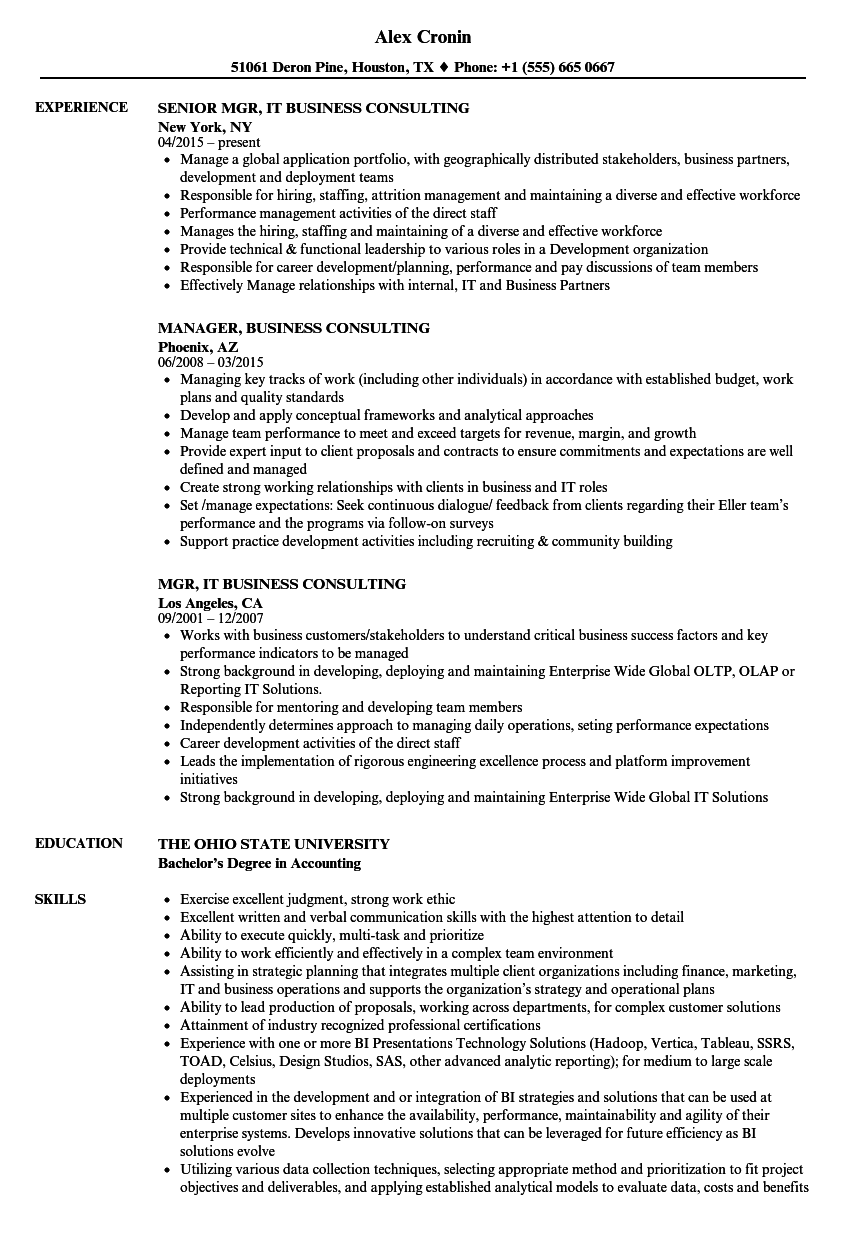 consulting analyst resume sample