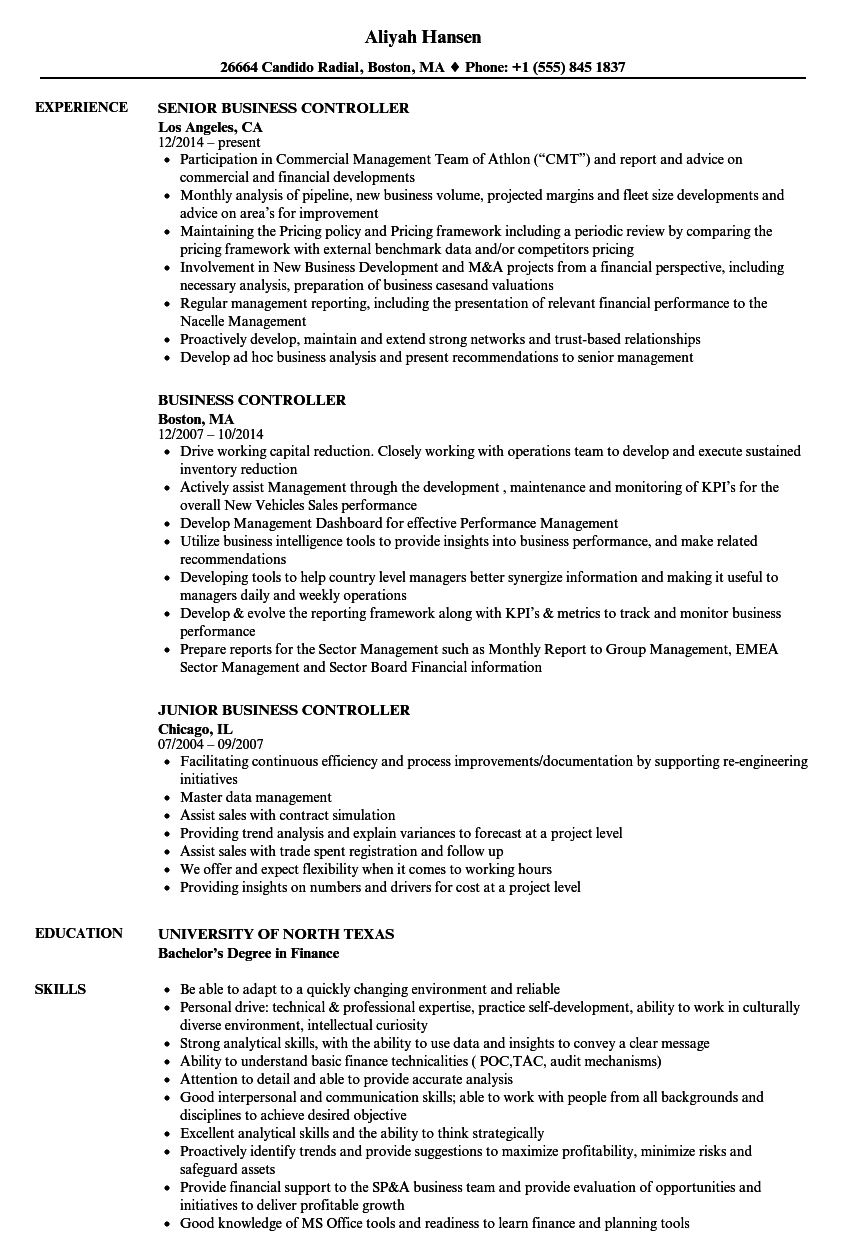 product cost controller resume samples