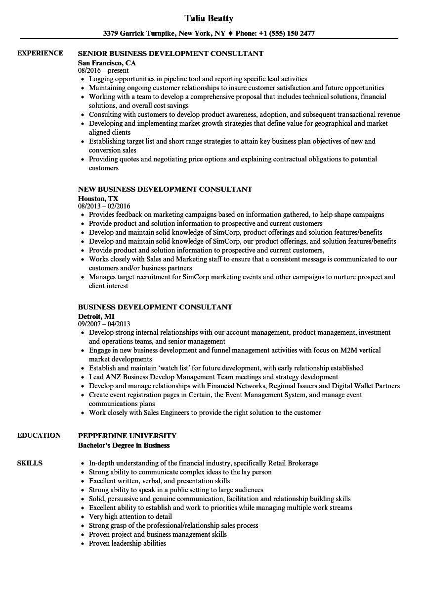 resume sample for a consultant