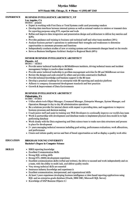 resume bi architect sample