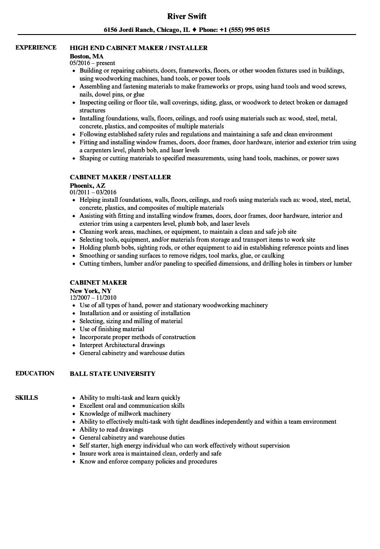 cabinet maker resume sample