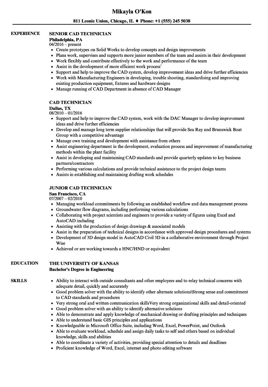 examples of civil cad technician resumes