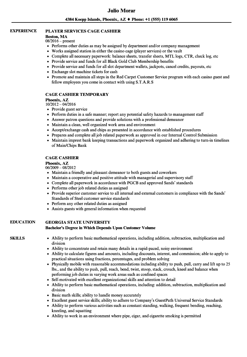 sample resume for cashier clerk