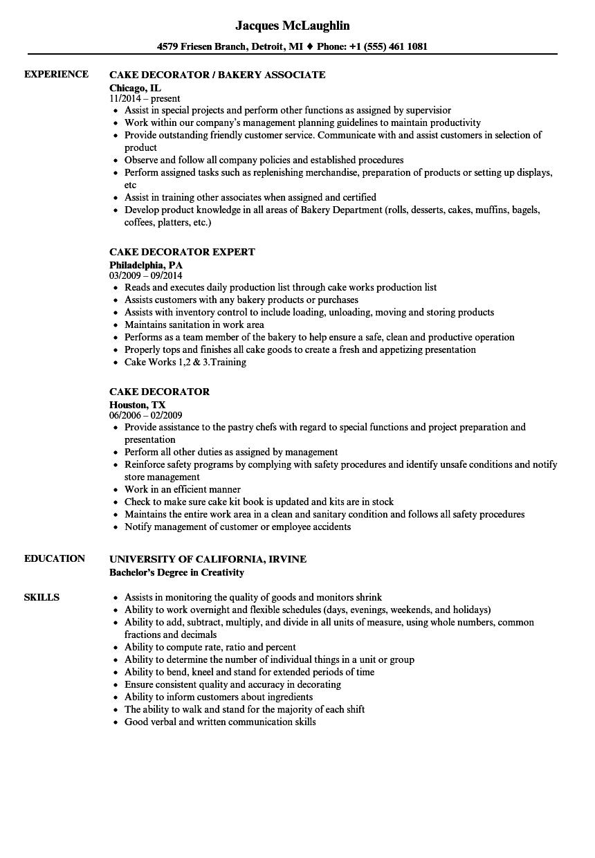 cake baker resume sample