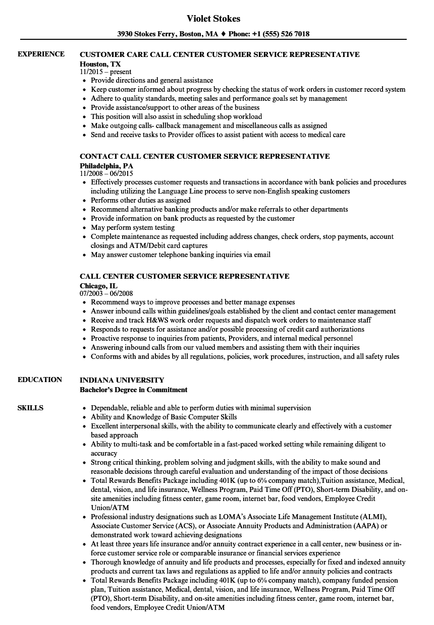 call center rep resume
