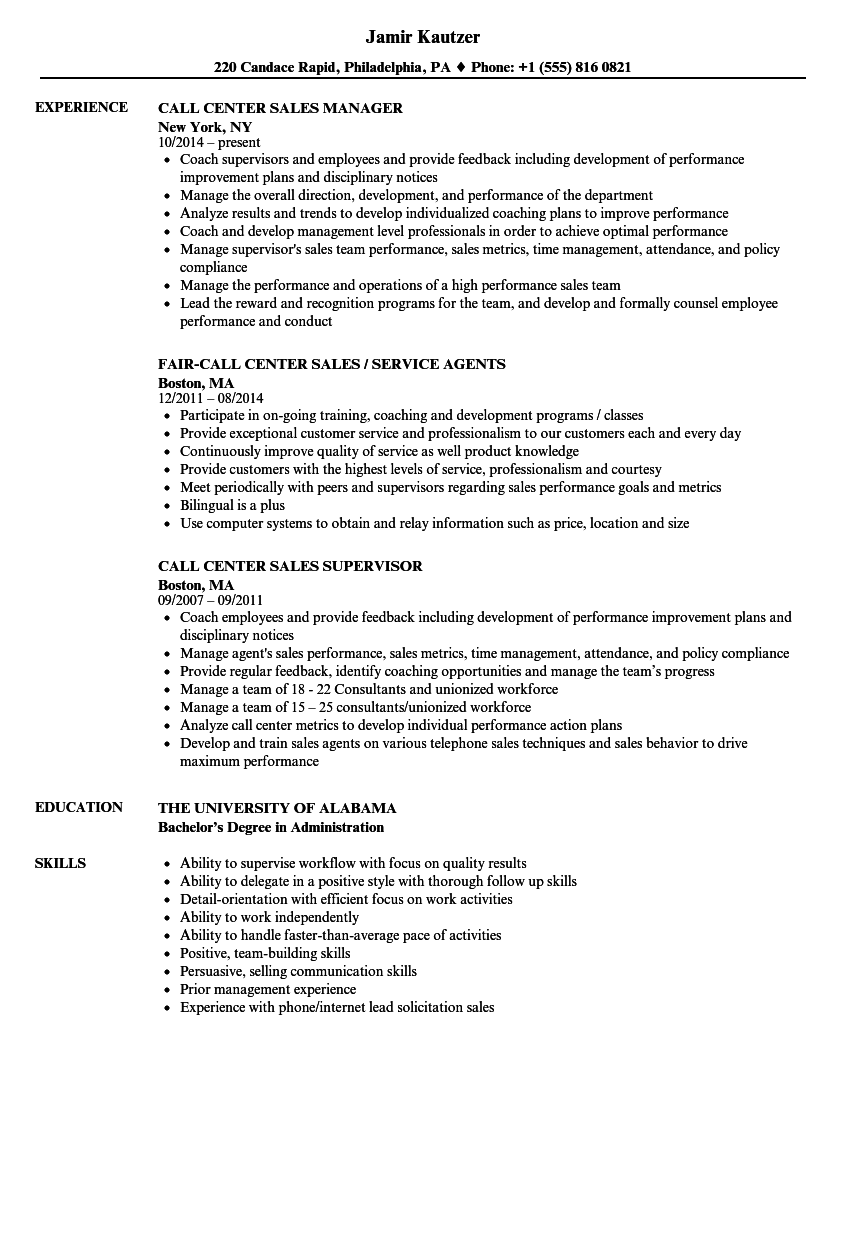 management resume examples 2017 call center management