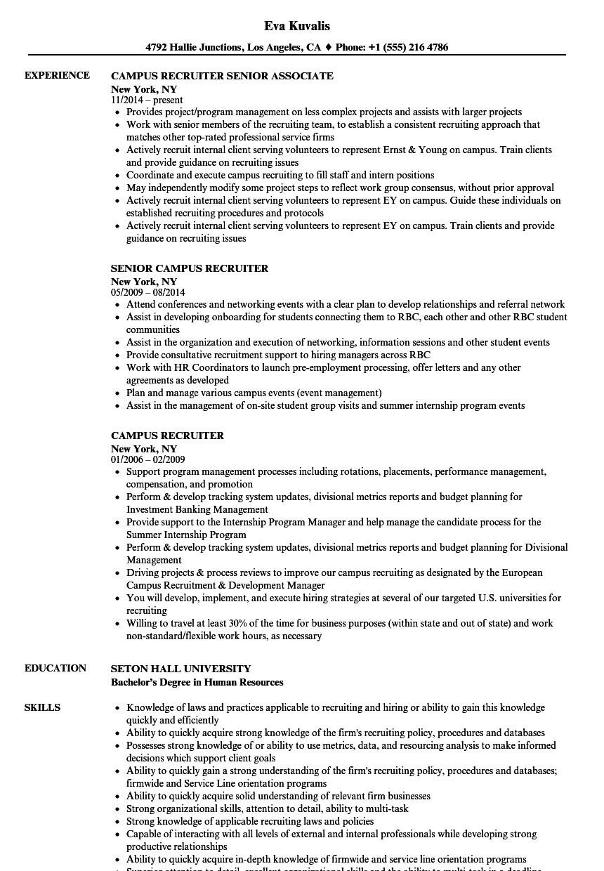 campus recruiter resume examples