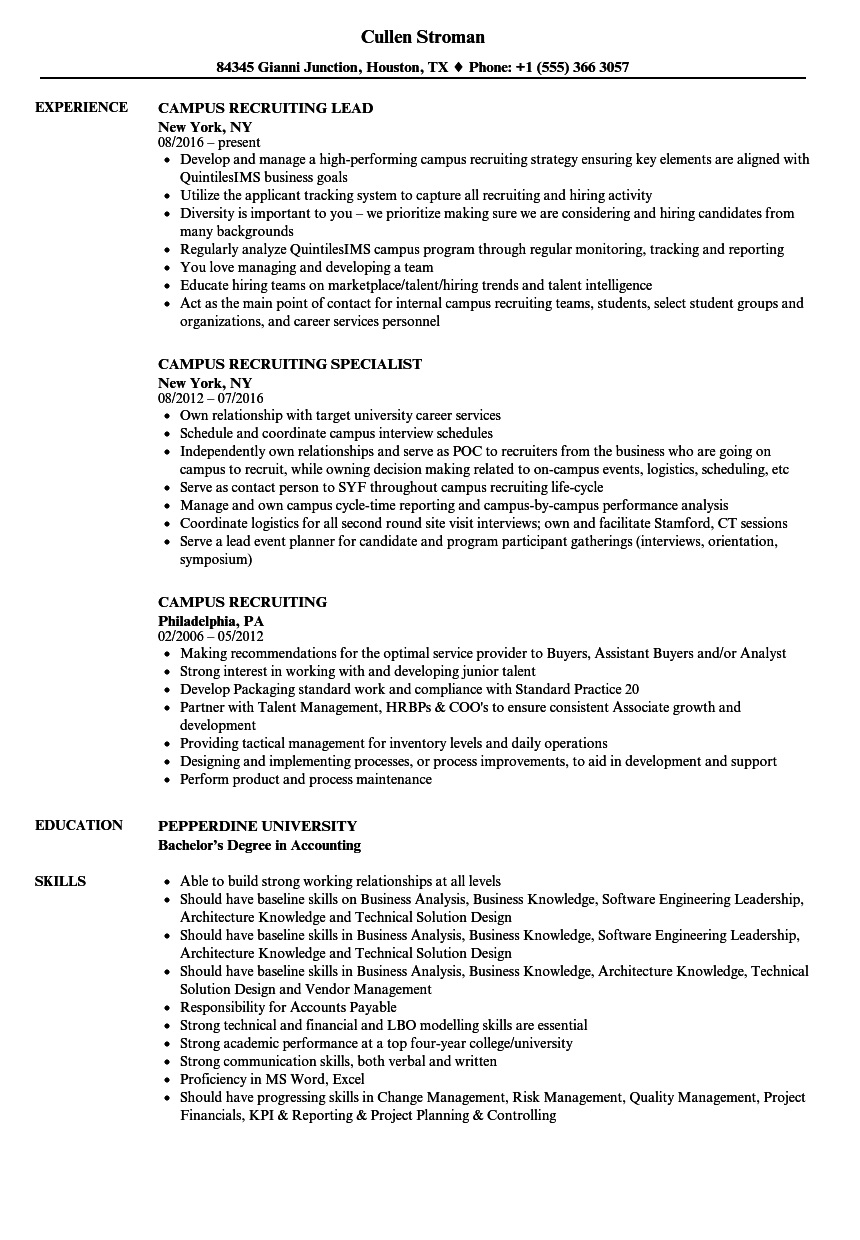 on campus job resume sample