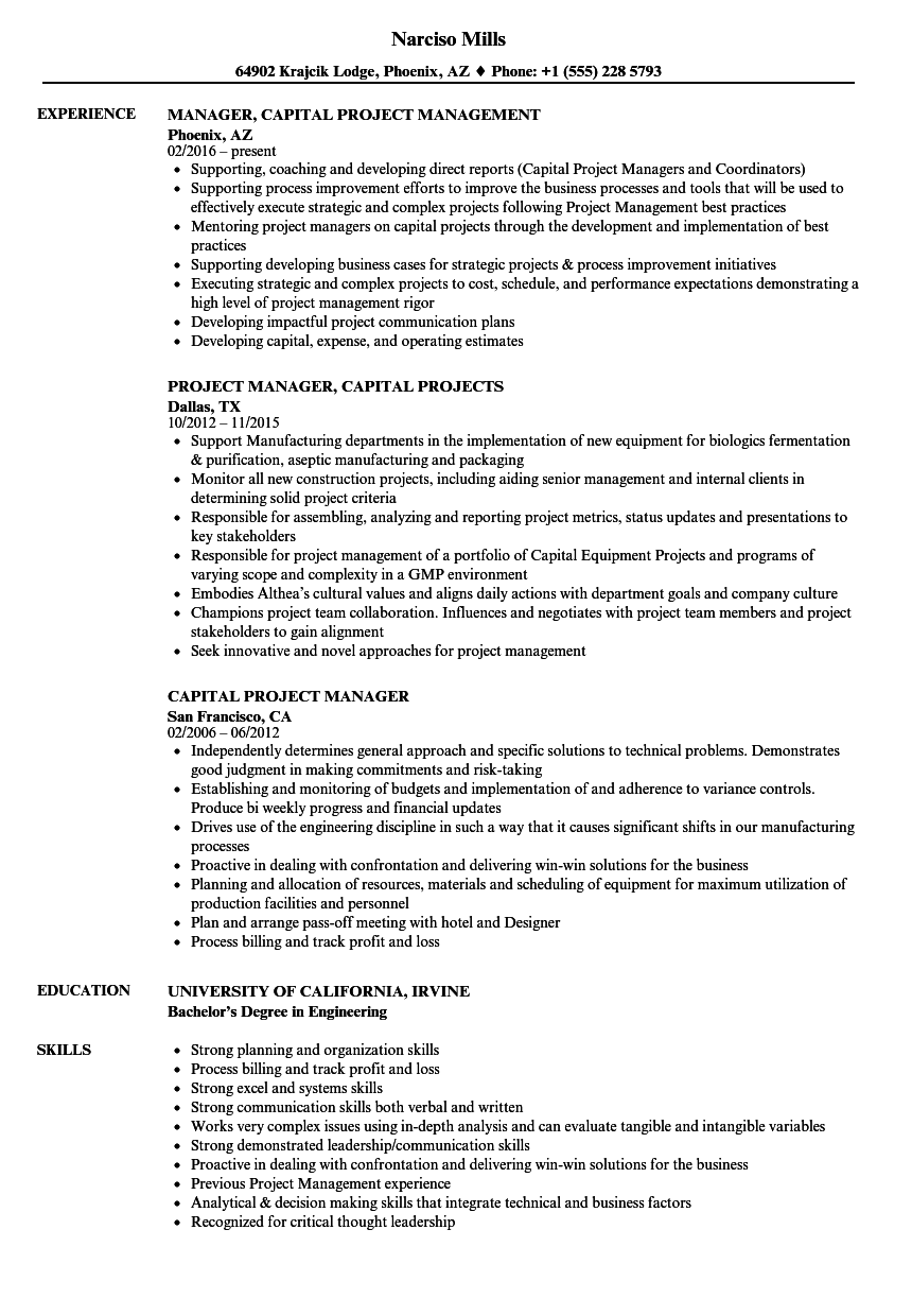 sample project manager resume download