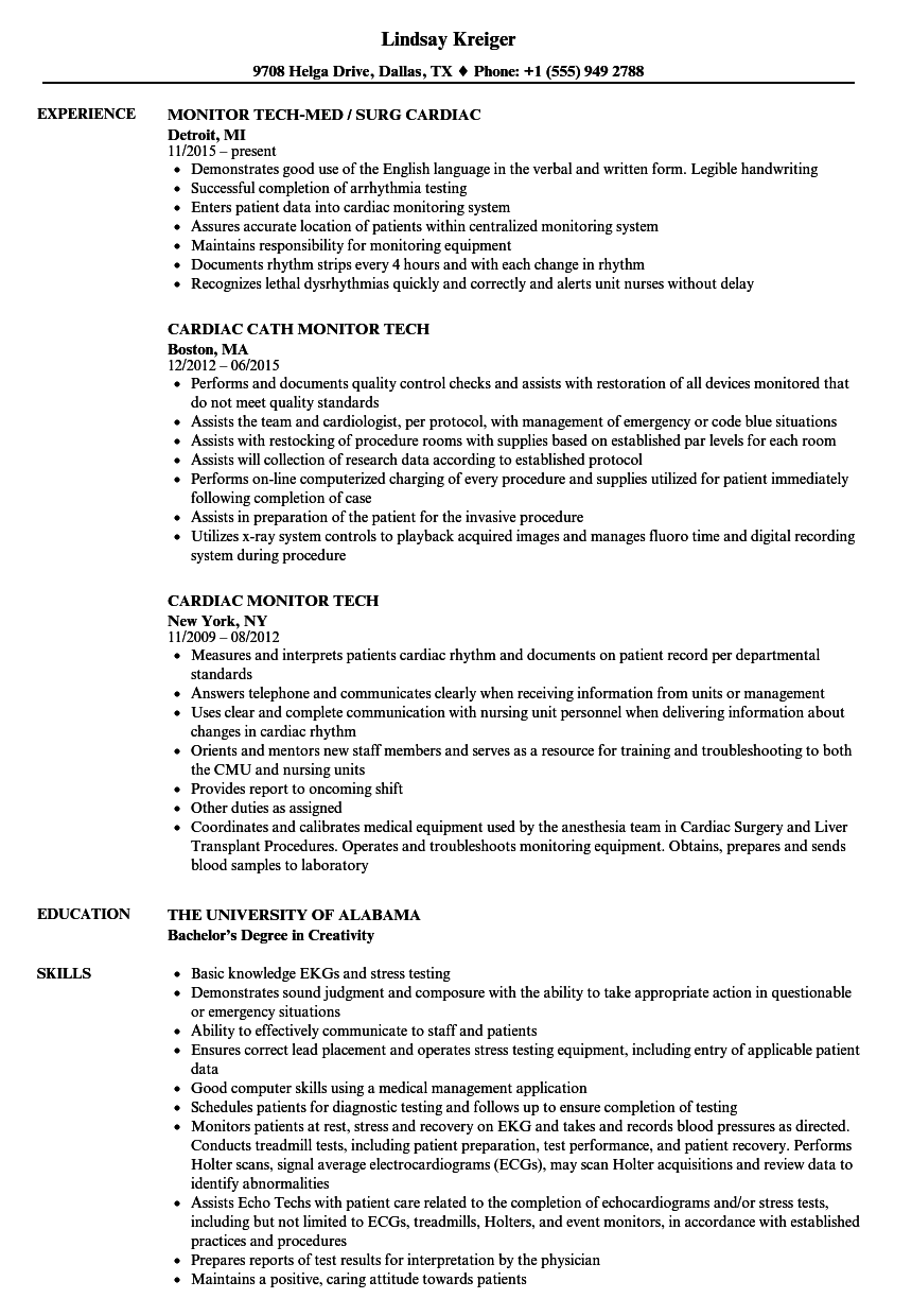 sample cardiac tech resume