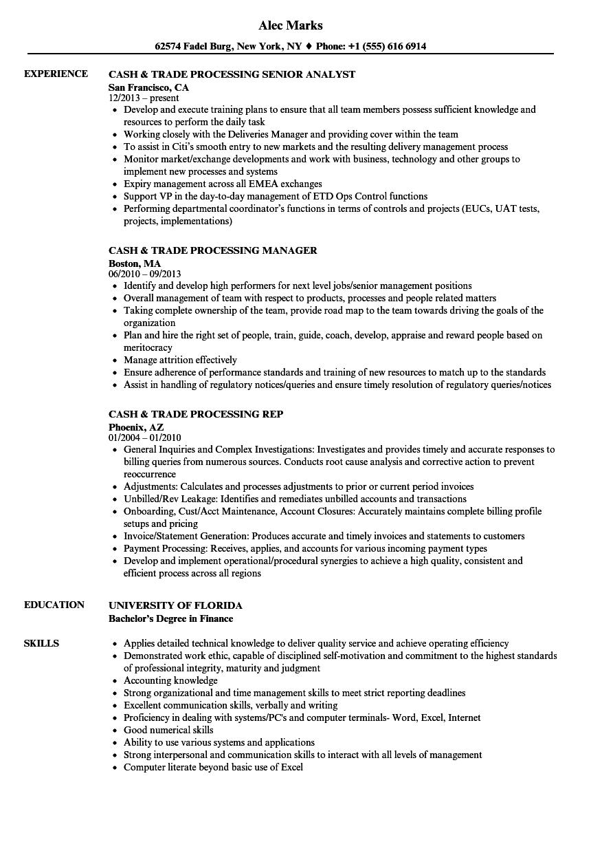 resume cash application specialist