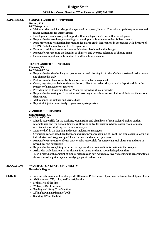 sample resume of cashier supervisor