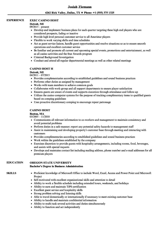 casino resume examples