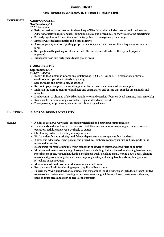 sample resume for casino porter