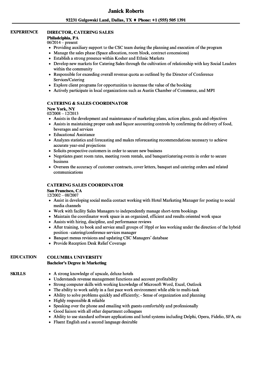 catering sales resume