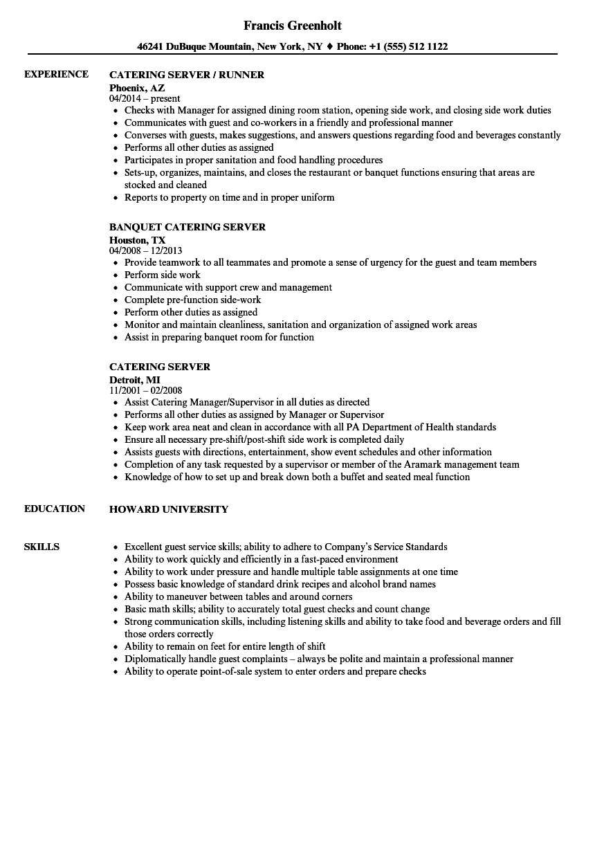 server responsibilities resume examples