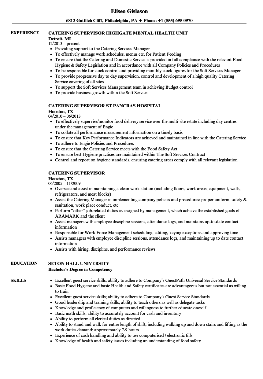 catering resume examples