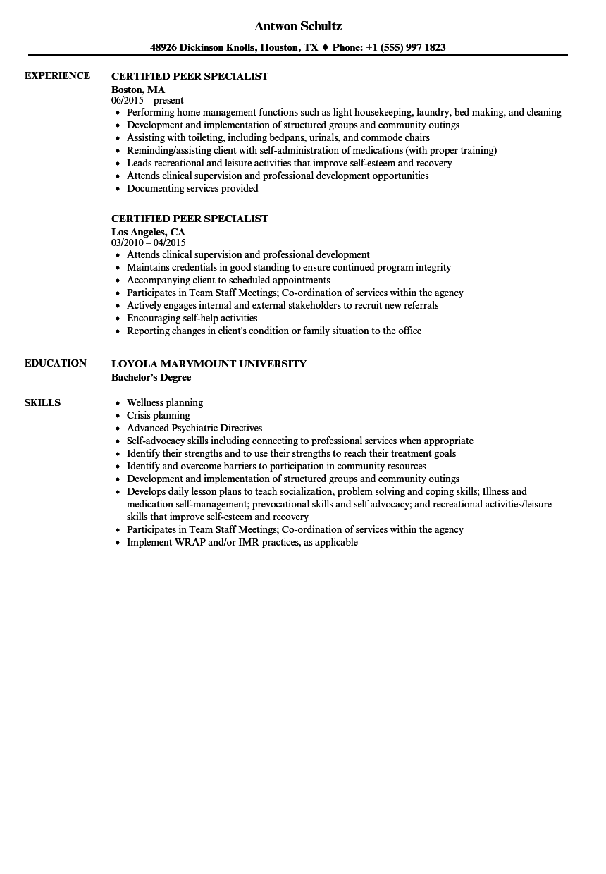 sample resume for certified peer support specialist