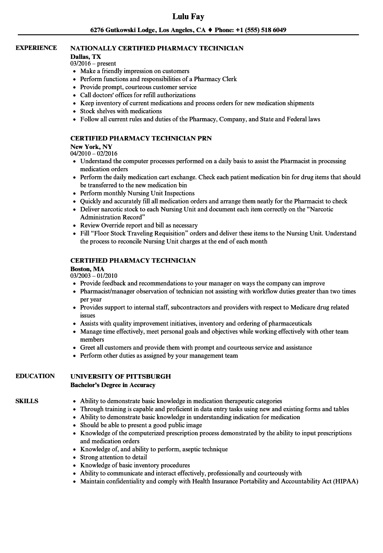 certified pharmacy technician resume example