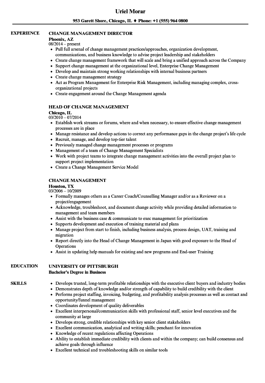 sample change management specialist resume
