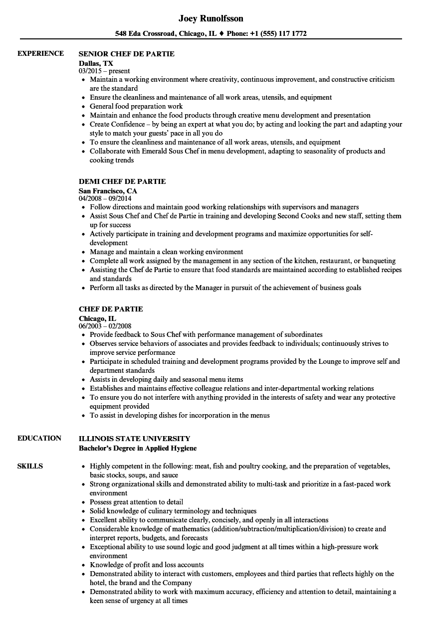 resume for chef de partie example