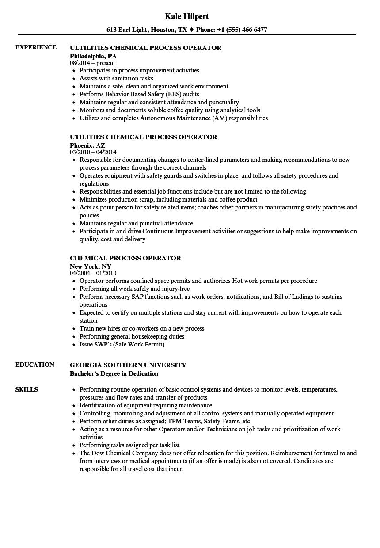 chemical plant operator resume