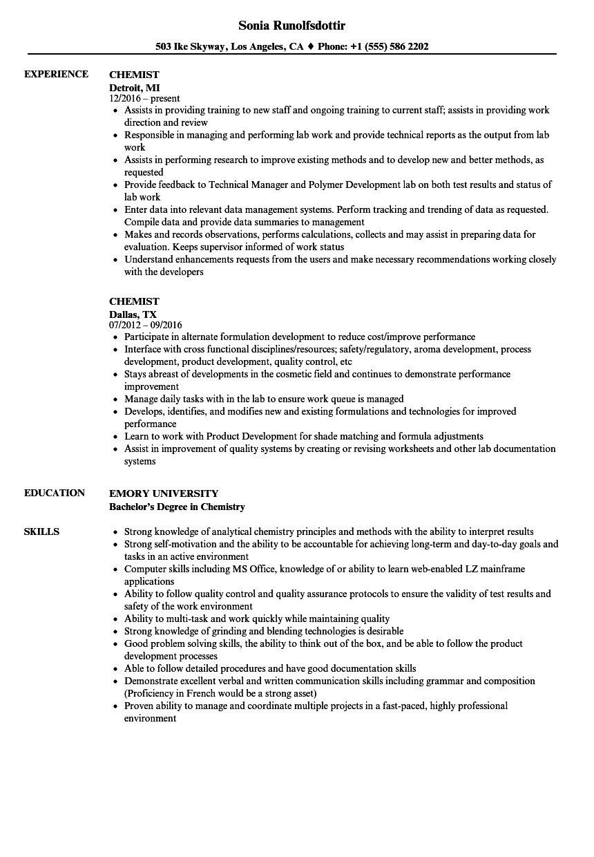 formulation chemist resume example