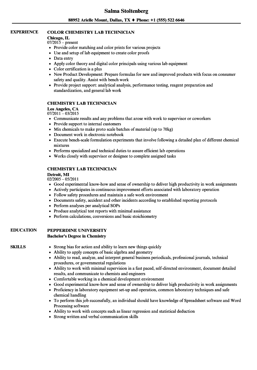chemical technician resume