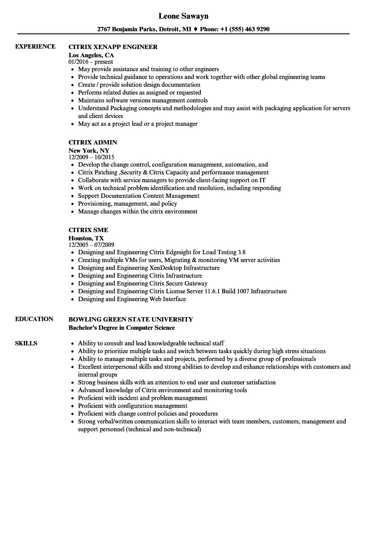citrix resume examples
