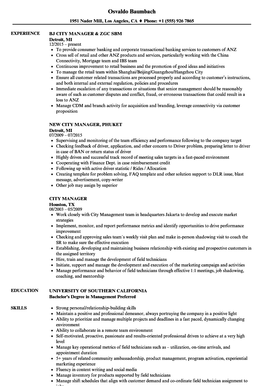 sample resume for resource manager