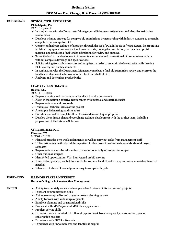 sample resume construction estimator
