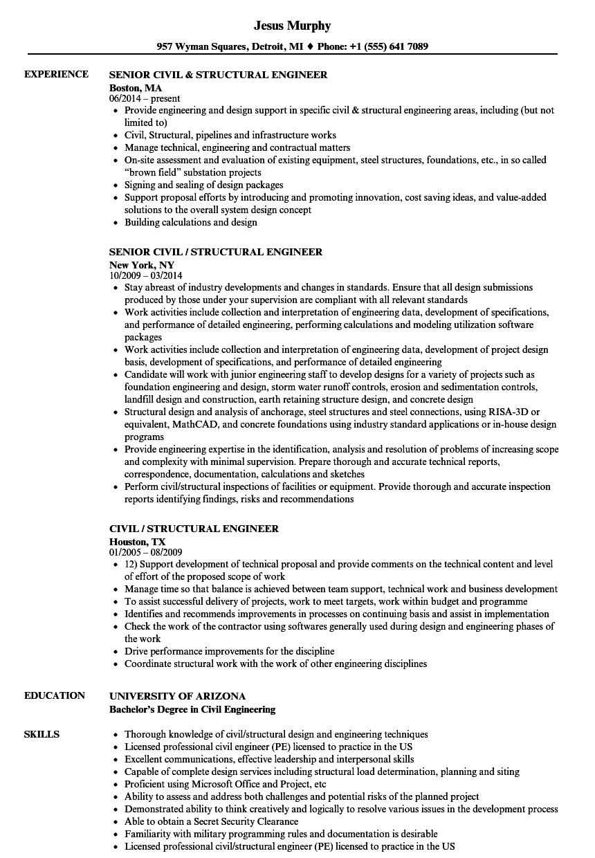 structural designer resume sample