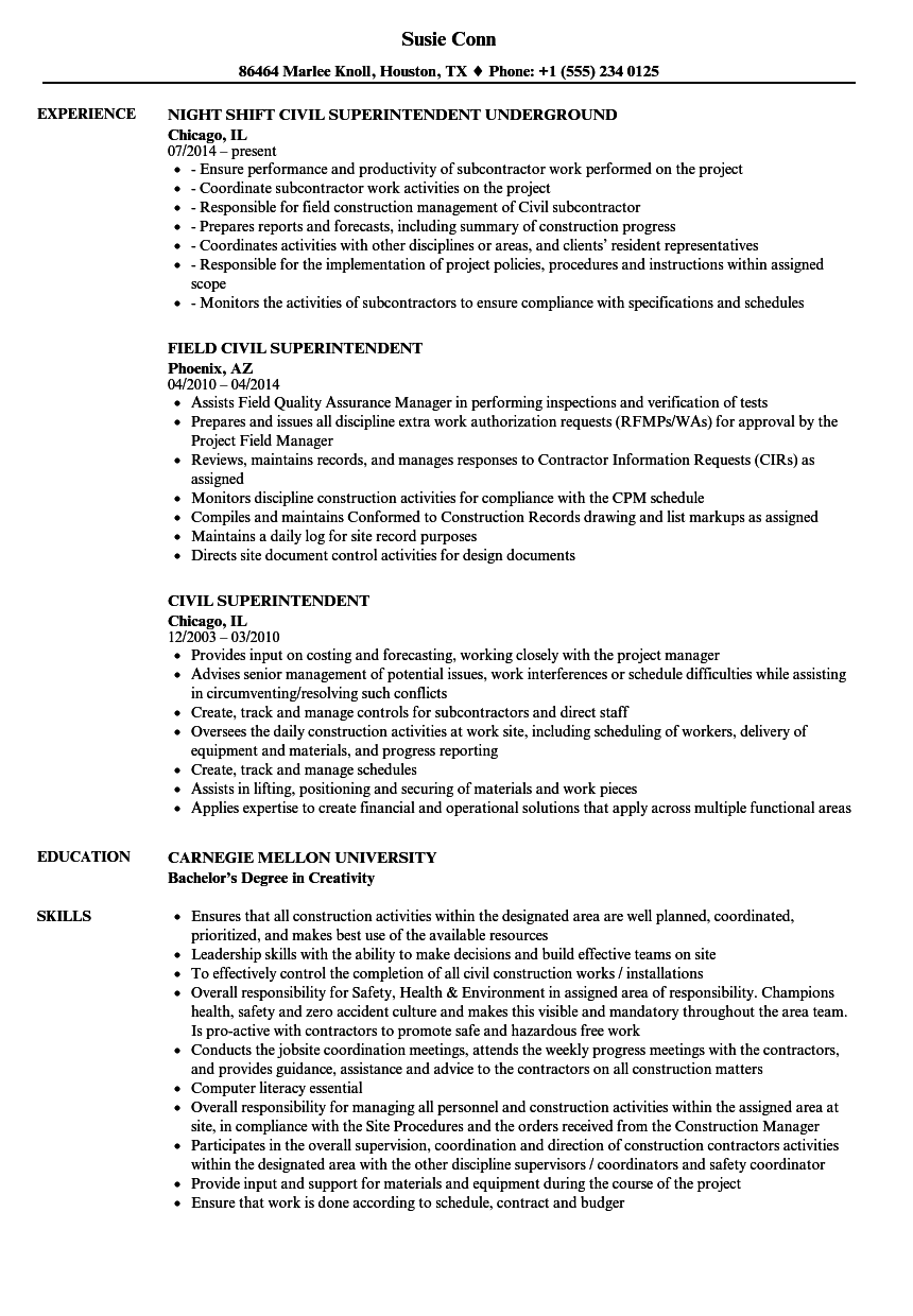 civil sample resume