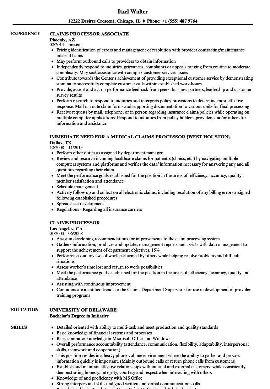 sample resume for specimen processor