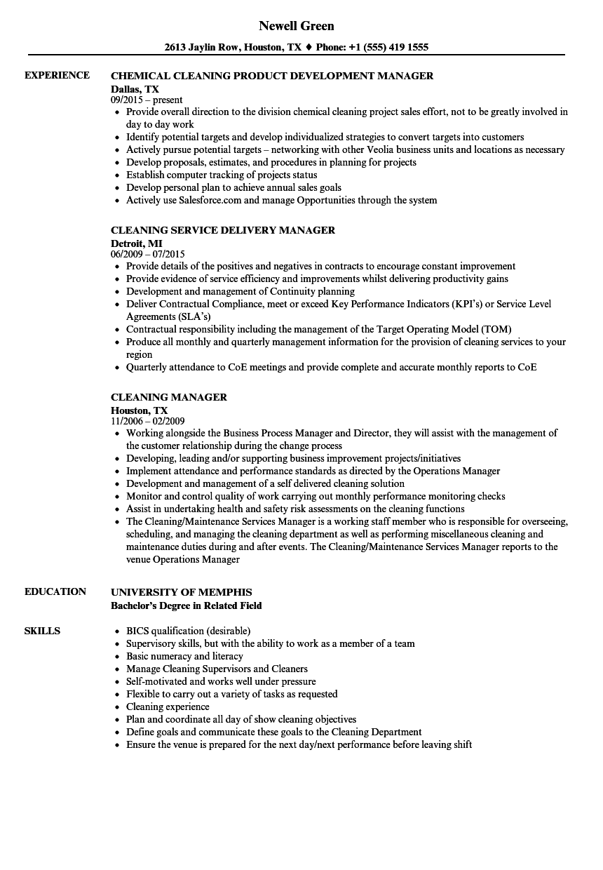 sample resume cleaning manager