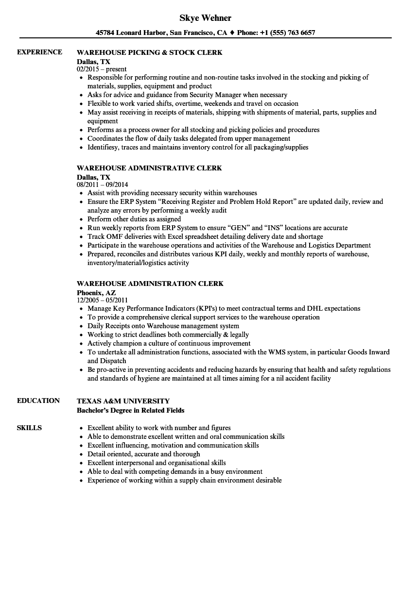 resume sample for a warehouse office employee