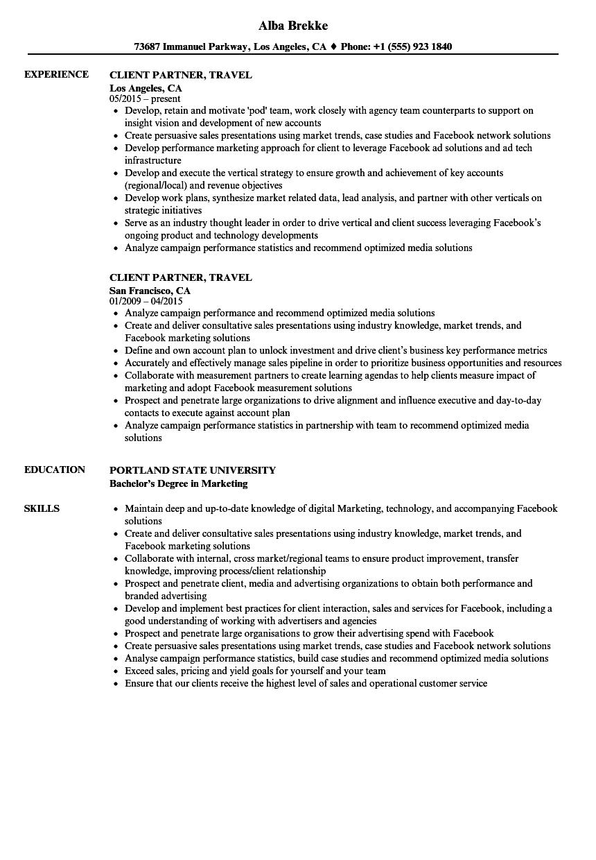 sample resume client partner