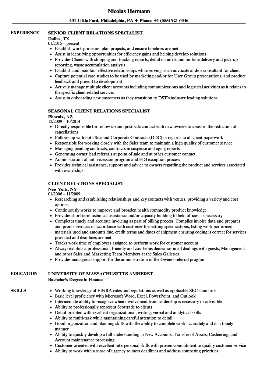 client relations resume sample