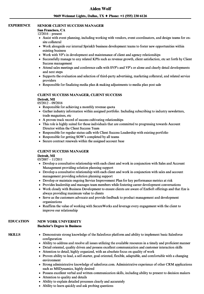 resume client services manager