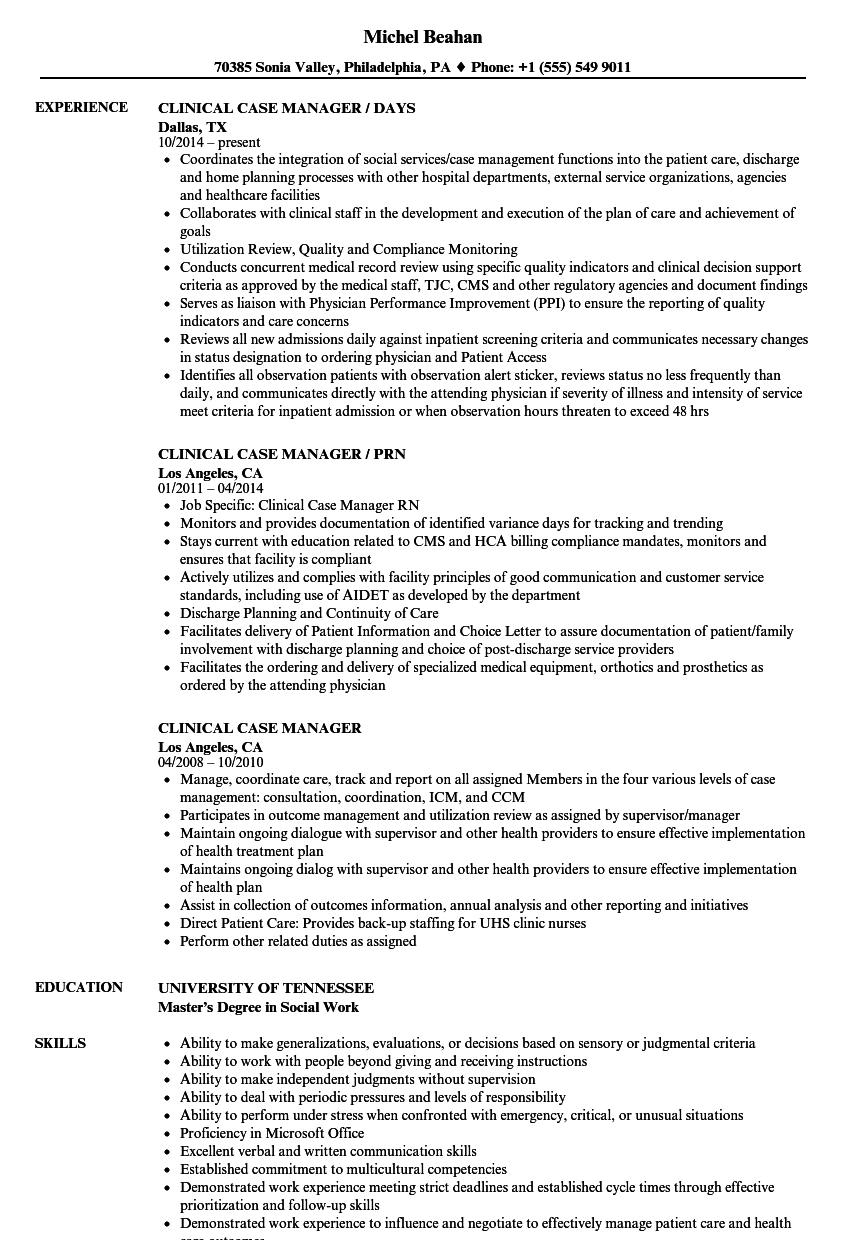 resume examples for case manager