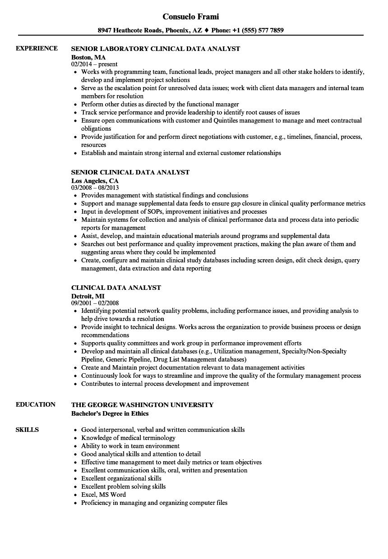 sample resume of database analyst