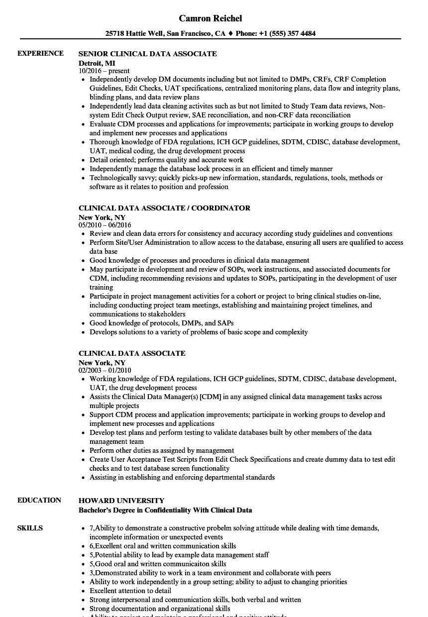 sample resume for clinical data analyst