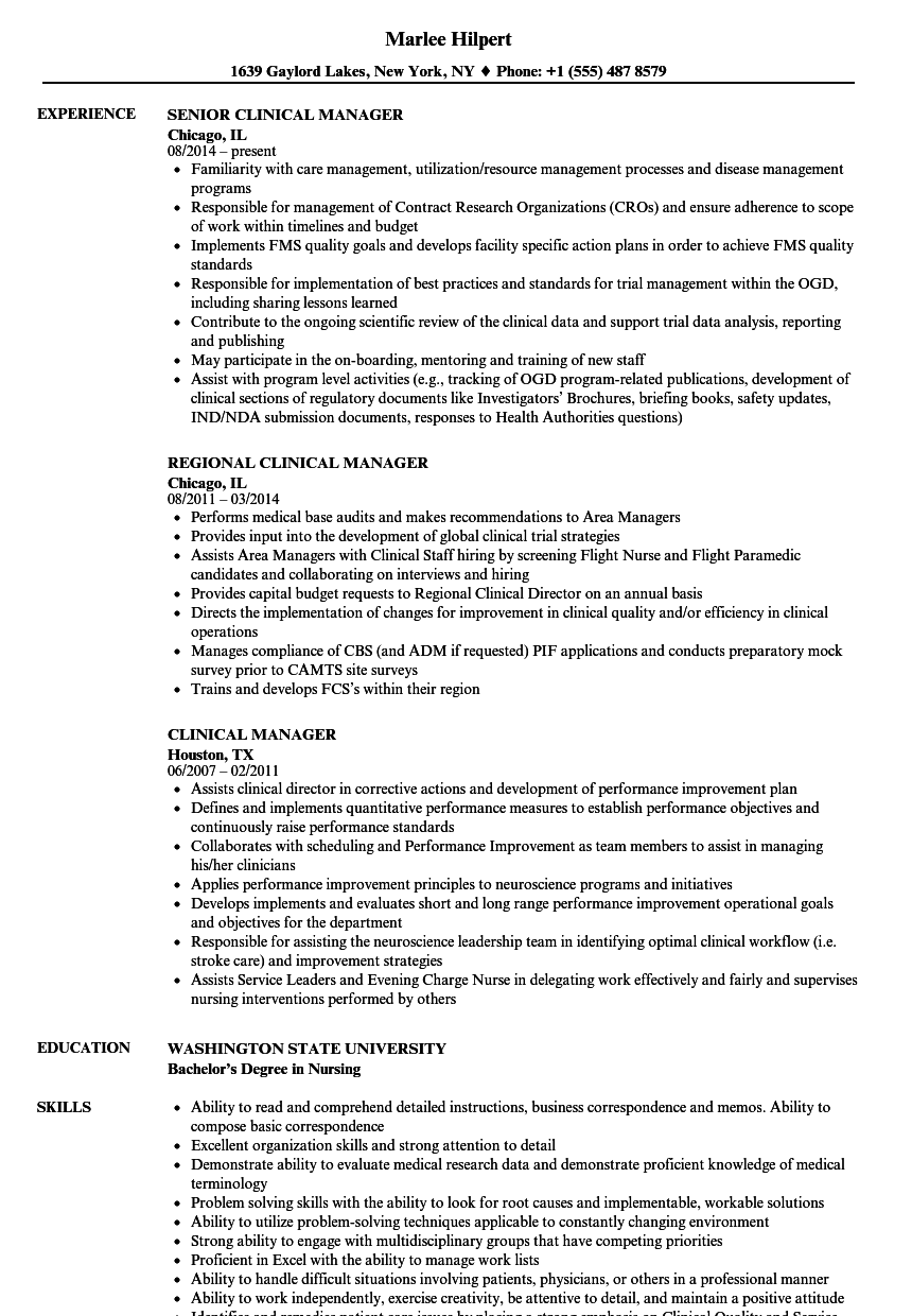 clinical trial manager resume sample