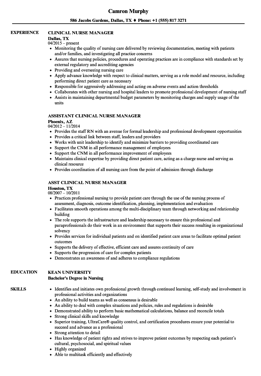 clinical nurse manager resume example