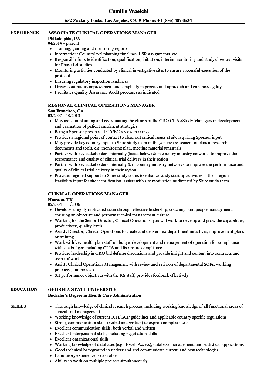 project manager resume sample population health
