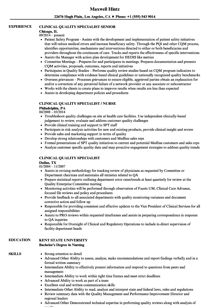 clinical resume sample