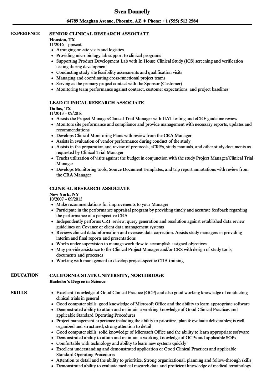senior clinical research associate resume sample