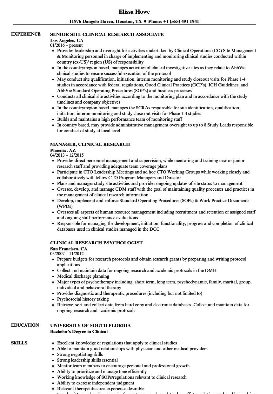sample resume senior research fellow