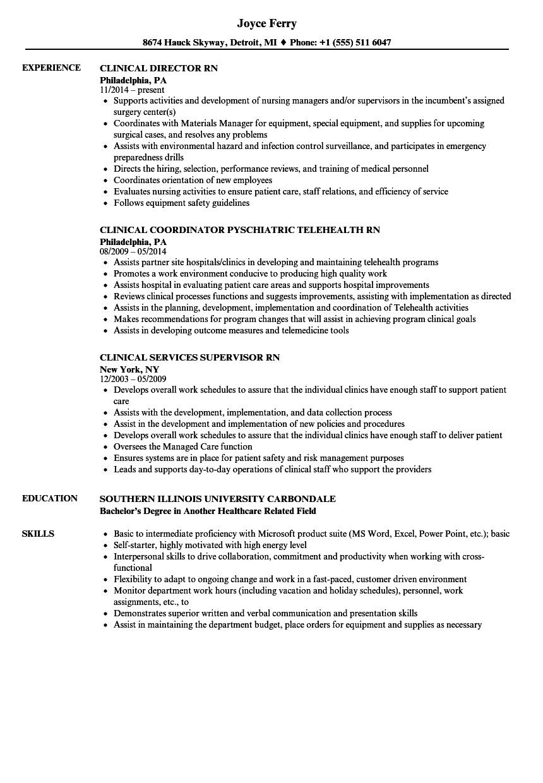 sample resume for clinical supervisor