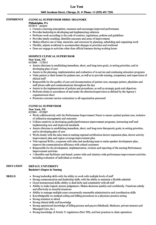 clinical supervisor resume samples